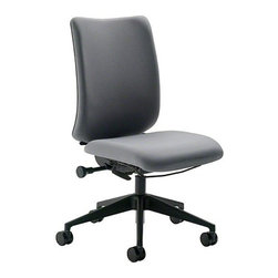 Turnstone - Turnstone   Armless Crew Task Chair - Unhindered comfort combined with timeless design is the reason the Armless Crew Task Chair is Turnstone's premier desk chair. Simple user centered adjustments, within easy reach, include tilt tension, back height, and a wide range of additional options. Every detail is cohesive and works together to create a tailored aesthetic. Crew's sleek angular base and square back shape offers a lean silhouette that seamlessly incorporates the extensive ergonomic comfort. Product Features:   Adjustable back height and pneumatic height adjustments Upholstered seat and inner back Adjustable seat depth and upright back lock Five-arm base with a choice of carpet casters, hard floor casters or non-marring glides  Tilt tension and synchro-tilt mechanism Black plastic outer back SCS Indoor Advantage™ Gold certified for indoor air quality in North America level™ 1 certified to ANSI/BIFMA e3 standard 70% recyclable materials, 18% recycled content Ships ready to assemble, no tools required Meets Cal. 116 and 117 requirements Weight tested up to 300 lbs. Select from a wide range of fabric colors Winner of the Buildings Magazine's Citation of Excellence Award, 2005