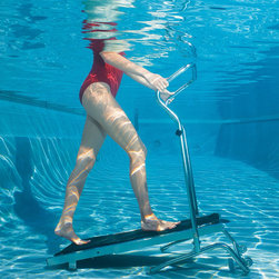 Frontgate - Aquatic Treadmill - Reliable belt movement requires minimal maintenance. Can be used for fitness training, rehabilitation activities, or just for fun. Also can be used to perform crunches, dips, and more. Recommended water depth: 40 to 55 inches. The water's resistance results in a higher workout intensity compared to land exercises, working pairs of muscles. Get in shape, renew your energy level, and release stress and tension - all in the privacy of your own pool. The smooth belt movement on this underwater treadmill ensures stable footing. 13 degrees incline provides an optimal workout. Constructed of marine-grade stainless steel for long-lasting use.  .  .  .  . The water's resistance results in a higher workout intensity compared to land exercises, working pairs of muscles . The water's buoyancy lowers the risks of stress-related injuries and allows muscles to work their full range of motion . Folds for easy storage when out of the water . Non-abrasive rubber wheels and suction cups won't mar pool bottom . Arrives assembled .