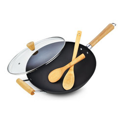 Cook N Home - Cook N Home 4-Piece Pre-Seasoned Light Weight Cast Iron Wok, 13-Inch - What's in box :