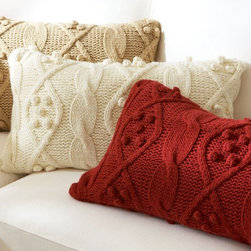 """Bobble-Knit Lumbar Pillow Cover - This knit pillow cover is reminiscent of a fisherman's sweater knit with love by grandma. It's wonderful for giving that cozy comfy vibe in the family room.  16"""" wide, 26"""" long Soft acrylic-wool yarn. Reverses to solid Zipper closure; insert sold separately 70% acrylic, 30% wool$39.99"""