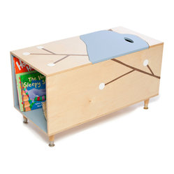 The MaudeToy Box with Book Cubby, Blue Lid and Inside Cubby
