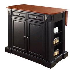 Crosley Furniture - Crosley Coventry Kitchen Island Breakfast Bar in Black - Crosley Furniture - Kitchen Carts - KF30007BK