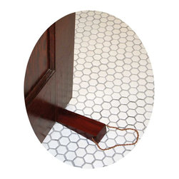 Renovators Supply - Door Stops Cherry Fin Hardwood Cherry Fin Plain Wedge Door Stop   17304 - Made of mango tree hardwood these elegant hanging door wedges conveniently hang from the door knob when not in use. Stop loosing your door wedge- hang it up by its beautiful leather rope. A perfect alternative from those cheap industrial rubber wedges- these wedges are designed for homes & businesses with a sense of style & practicality. Select from an assortment of stains & finishes. Measures 6 inches long.