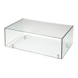 Butler Specialty - Butler Santa Barbara Glass Contemporary Cocktail Table - Contemporary stainless steel feet support this simply glass, Glass cocktail table. Chic and sophisticated with clean geometric lines, this table offers no distractions, but you may choose to use the under shelf to display favorite items and books.