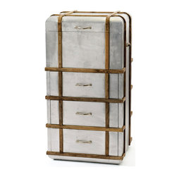 Industrial Travel Dresser - Travel in industrial-modern style with this industrial-grade chest. With a lid and three drawers, it also makes a stunning and unique dresser for your bedroom.