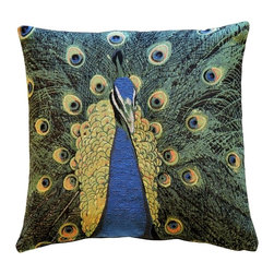Pillow Decor Ltd. - Pillow Decor - Peacock Tapestry 19 x 19 Throw Pillow - If you're a fan of feathers, you'll be proud as a peacock to display this vibrantly hued throw pillow atop your couch, reading chair or chaise. It's Jacquard woven for beautiful detail and depth of color.