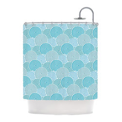 """Kess InHouse - Nick Atkinson """"Ocean Swirl"""" Teal Green Shower Curtain - Finally waterproof artwork for the bathroom, otherwise known as our limited edition Kess InHouse shower curtain. This shower curtain is so artistic and inventive, you'd better get used to dropping the soap. We're so lucky to have so many wonderful artists that you'll probably want to order more than one and switch them every season. You're sure to impress your guests with your bathroom gallery in addition to your loveable shower singing."""