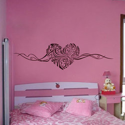 ColorfulHall Co., LTD - Wall Stickers for Bedrooms DIY Heart Shape with Ribbon Pattern - Wall Stickers for Bedrooms DIY Heart Shape with Ribbon Pattern