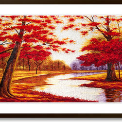 Art of Silk - Red Maples (Large) - Hand Designed Silk Art, Silk Embroidery - Silk embroidery art was invented in China over 2,500 years ago. This high quality silk art is created using embroidery techniques developed from the world famous Suzhou style of silk embroidery. Each piece contains over 100,000 stitches on average.