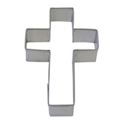"RM - Cross Tin Cookie Cutter 4"" B1171X - Cross cookie cutter, made of sturdy tin, Size 4 in., Depth 7/8 in., Color silver"