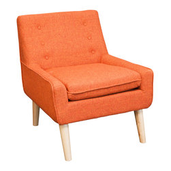 Great Deal Furniture - Brocktson Fabric Retro Accent Chair, Orange - Make your room unique with a blast from the past. This retro-chic Brockston chair will add the perfect pop of color and funk to any space. Upholstered in orange fabric, this chair is designed with a large padded seat and tufted backrest. If you're looking to add a unique piece to your home, you will enjoy the look and feel of this chair.