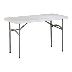 "Office Star - ""Office Star 4' Resin Multipurpose Table, Light Grey"" - ""4"""" Resin Multi Purpose TableDimensions (W x L x H): 48"""" x 24"""" x 29.25""""4-foot multipurpose table for indoor and outdoor useHeavy-duty blow-mold white resin top and gray powder-coated steel tube frameWaterproof, stainproof, scratch- and impact-resistantSets up and cleans easily; folds flat for storageMeasures 48 inches long by 24 inches wide and Height may vary from 29.12 inches to 29.25 inches; weighs 23 pounds; holds 300 pounds"""