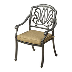 Lakeview Outdoor Designs - Rosedown Cast Aluminum Patio Dining Chair - The Rosedown collection from Lakeview Outdoor Designs adds sophistication to any outdoor area. This dining chair has an intricate floral design that complements any patio decor and a generous seat which offers maximum comfort. The 3-inch thick linen sesame cushion is made from all-weather Sunbrella fabric which resists fading, moisture and mildew. The hand crafted, cast aluminum frame is welded for premium durability and capped with non-marking leveling feet on the bottom for additional support. The powder-coated, antique bronze aluminum frame is rust resistant and cleans up easily with mild soap and water.