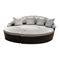 Great Deal Furniture - Bellagio 4-Piece Outdoor Sectional Daybed - From conversation set to luxurious chaise lounge — this outdoor set transforms for any occasion.  The lavish, pillow-topped sectional is made from weather resistant wicker and features a convenient fold-away canopy. It's guaranteed to become the most relaxing spot in your yard.