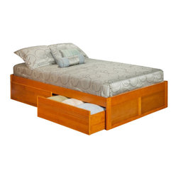 Atlantic Furniture - Atlantic Furniture Concord Bed with Drawers in Caramel Latte-Queen Size - Atlantic Furniture - Beds - AR8042117