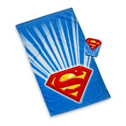 Franco Manufacturing Company, Inc. - Superman Bath Towel and Wash Mitt Set - Your child will soar through the air as soon as his head hits his pillow with the Superman Comforter, Sheets and Bath Collection. With Superman graphics on his bed sheets and bath towels, your little one will easily conquer bath time and bed time.