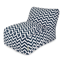 Majestic Home Goods - Navy Chevron Bean Bag Chair Lounger - Add style and functionality to your living room, family room or outdoor patio with the Majestic Home Goods chevron bean Bag chair lounger. This beanbag chair has the design of modern furniture, while still giving the comfort of a classic bean bag. Woven from outdoor treated polyester, these loungers have up to 1000 hours of U.V. protection and are able to withstand all of nature's elements. The beanbags are eco-friendly and feature a zippered slipcover. Spot clean slipcover with mild detergent and hang dry. Do not wash insert.