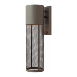 """Hinkley - Hinkley 2304KZ-GU24 Aria 18-1/2"""" 1 Light Fuorescent Outdoor Wall Sconce in Bucke - Aria is a contemporary style that effortlessly complements the fa�ade of any exterior. Its modern shape in durable aluminum is enhanced by a stainless steel mesh shade.Add safety and beauty to your outdoors with an outdoor wall sconce Aluminum fixture brings outstanding durability Rated for wet location useADA Compliant: No Backplate Height: 8-1 4 Backplate Width: 4-1 2 Bulb Type: Fluorescent Bulbs Base: GU24 Collection: Aria Dark Sky: No Energy Star Compliant: No Extends: 6-3 4 Finish: Buckeye Bronze Glass: Stainless Steel Mesh Shade Height: 18-1 2 Light Direction: Ambient Material: Aluminum Number of Lights: 1 Safety rating: C-US Wet Rated Voltage: 120 Wattage: 26 Weight: 3 Width: 5"""