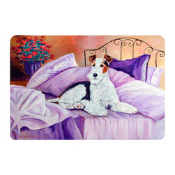 Caroline's Treasures - Fox Terrier Waiting On Mom Kitchen Or Bath Mat 24X36 - Kitchen or Bath COMFORT FLOOR MAT This mat is 24 inch by 36 inch.  Comfort Mat / Carpet / Rug that is Made and Printed in the USA. A foam cushion is attached to the bottom of the mat for comfort when standing. The mat has been permenantly dyed for moderate traffic. Durable and fade resistant. The back of the mat is rubber backed to keep the mat from slipping on a smooth floor. Use pressure and water from garden hose or power washer to clean the mat.  Vacuuming only with the hard wood floor setting, as to not pull up the knap of the felt.   Avoid soap or cleaner that produces suds when cleaning.  It will be difficult to get the suds out of the mat.