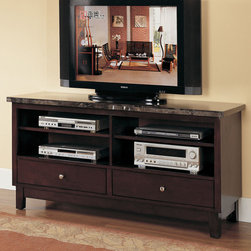 "Acme Furniture - Danville TV Stand in Black Marble and Walnut - Danville TV Stand in Black Marble and Walnut; Finish: Black Marble & Walnut; Materials: China Marble Top & Wood; Weight: 128 lbs; Dimensions: 60"" x 18"" x 29""H"