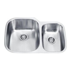 Vigo Industries - 60/40 Double Bowl Stainless Steel Undermount Kitchen Sink - 15 degree radius corners, satin finish and seamless construction make this stylish 18 gauge stainless steel sink the perfect addition to your kitchen decor.