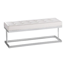 Sunpan - Sunpan White Viceroy Bench - Whether used as an accent piece in the living room or entryway,this white,faux-leather bench will bring a fresh,modern feel to your decor. Featuring a clean,minimalist design and polished-steel base,this seat is both beautiful and durable.