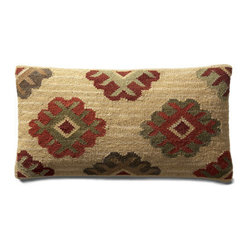 "Grandin Road - Ankara Kilim Throw Pillow - 11"" x 21"" - Durable cotton backing. Zippered closure. Plump polyester fill. Dry clean only. Exciting patterns and rich colors make our Kilim Indoor Throw Pillows timeless favorites. Covers are crafted on traditional kilim looms, making each pillow a one-of-a-kind creation.  .  .  .  . Imported."