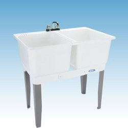 Mustee 22C Double Basin Floor Mount Utility Sink Combo - The Mustee 22C Double Basin Floor Mount Utility Sink Combo is perfect for handwashing, soaking, dyeing, bleaching and more. Two 13-inch deep, 15-gallon capacity tubs joined by a divider strip and featuring heavy-gauge steel legs. The tubs are made from a mold- and mildew-resistant thermoplastic resin and features an integrated leak-proof drain (with stopper). The tub comes with all the necessary hardware to mount and install. Unit is fitted for a 4-inch diameter faucet (not included).About Trumbull IndustriesFounded in 1922 as a single branch plumbing supply house, Trumball Industries has evolved over the years in to a privately held corporation and full-line distributor with specialized divisions. With 6 branch locations, Trumball Industries has several divisions: an Industrial Division that provides products and services to industrial manufacturers, a Home Center Division that offers expertise in all major kitchen and bath products, a Municipal Division that offers a full line of water and sewer products, and a Master Distribution Center with 500,000 square feet housing over 80,000 products. Aside from providing quality services to their customers, the people at Trumbull Industries are happy provide a tour of any of their facilities as well as assist you with any design, layout, or purchasing decisions.