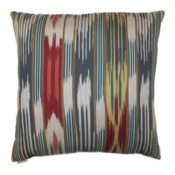Silver Nest - Cool Ikat Down Pillow- 24x24 - These pillows are constructed of heavyweight, durable and quite stunning fabric. Unfortunately the fabric content and laundry care are not provided by the manufacturer. You will just have to trust us that you are going to fall in LOVE with this pillow! A feather down insert is included with each pillow so there is no need to go hunting around for the correct size insert. Pillows come packaged in a set of two- all ready to toss on the sofa, loveseat, chair, bed, floor… wherever you need that pop of color and design! Price is noted for a single pillow, however pillows must be sold in a set of 2.