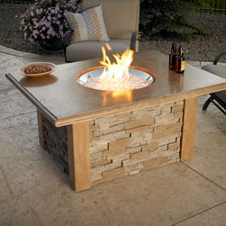 Sierra Fire Pit with Ledgestone & Supercast Top in Mocha - With its excellent balance of rugged stone and smooth wood, the Sierra Fire Pit with Ledgestone & Supercast Top in Mocha will easily complement any modern living decor. -Mantels Direct