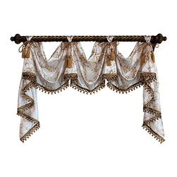 RLF Home - Florence Victory Swag, Ivory, 2 Scoop - The simple elegance of the Florence Victory Swag is embraced by an ornamental scroll motif on faux silk embellished with lavish tassel-ball trim and chair-tie accents, as shown. Fashioned with front-tabs for displaying on a decorative pole, this style is the perfect choice for any decor. This valance is 100% Polyester, unlined, and available in color Ivory.