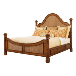 Lexington - Tommy Bahama Home Island Estate Round Hill Bed, California King - Using an intricate herringbone pattern of woven Lampakanai in the headboard and footboard makes a bold statement. Yet the design creates a soothing, restful retreat.
