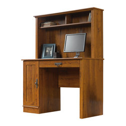 Sauder - Sauder Harvest Mill Wood Computer Desk with Hutch in Abbey Oak - Sauder - Computer Desks - 404961 - This desk features flip-down molding to reveal a slide-out keyboard/mouse shelf with metal runners and safety stops. Convenient storage area behind the door features an adjustable shelf and holds a vertical CPU tower and the hutch has cubbyhole storage. Quick and easy assembly with patented slide-on moldings.