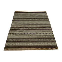 100% Wool Striped Durie Kilim 3'x5' Hand Woven Flat Weave Oriental Rug SH15783 - Soumaks & Kilims are prominent Flat Woven Rugs.  Flat Woven Rugs are made by weaving wool onto a foundation of cotton warps on the loom.  The unique trait about these thin rugs is that they're reversible.  Pillows and Blankets can be made from Soumas & Kilims.
