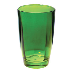 """Vietri - Vietri Optical Set of 4 High Ball Crystal Glasses 5.5""""H, 14 oz, Emerald - The cool and sophisticated look of our clear high ball glass from our Optical drinkware collection will add elegance to your tablesetting. Use it for iced tea, mixed cocktails or lemonade. Handcrafted in Naples, Italy and dishwasher safe!"""