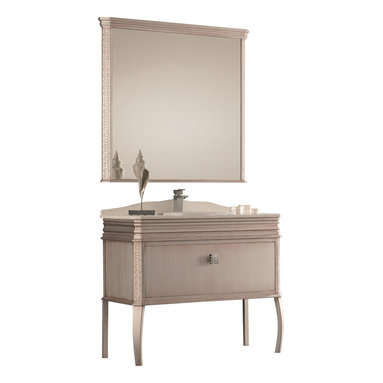 """Macral - London Bathroom Vanity, Antique Silver, 40-Inches - London Bathroom Vanity available in 40"""" wide. White Quartz counter-top and  White ceramic under-mount sink, comes with the back-splash included. The price ONLY includes the vanity, the countertop and the under-mount sink, the faucet is NOT INCLUDED, but can be sold separately. This vanity has one big and spacious drawer with soft close and a genuine SWAROVSKI Crystal Handle, another small drawer with push opening. Made in solid Wood Antique Silver lacquered. Easy installation. Designed and manufactured in Spain."""