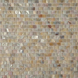 """Natural Varied Mother of Pearl 1/2"""" x 1/2"""" Squares Offset Pattern Tile - Mother of pearl tiles add new and unique elegance to your bathroom, backsplash, headboard, and more. Our Mother of Pearl tiles are handmade from genuine natural freshwater pearls. Although Mother of Pearl tiles are naturally thin, they are very strong and durable as well as easy to install in kitchens, bathrooms, and pools."""