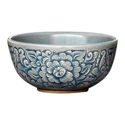 bailanmu - Blue Celadon Bowls - Allover Floral, Small - Earthy and handcrafted for a warmth to any meal.