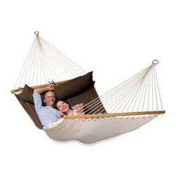 Gale Pacific Usa Inc. - Coolaroo Double Person Hammock with Bar - This double person hammock includes a spreader bar made from durable FSC timber to promote a healthy lifestyle. Features a wide width for extra comfort. In a vibrant and rich colored fabric.