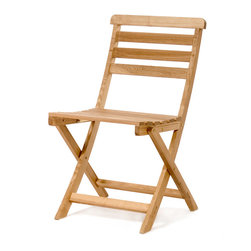 All Things Cedar - BISTRO Paito Chair - Easy folding and comfy horizontal slat design makes this chair suitable for the boat, around the deck or for any tailgating event where portability, comfort, style and quality are the order of the day. Item is made to order.