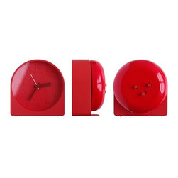"Idea International - Bell Alarm Clock, Red - ""Bell"" is a new format for the morning alarm clock that moves the bell component to the back, and uses it as part of it's body. This not only saves on components and simplifies the appearance, but also allows for a much louder ring. Louder than a mobile phone, a desk clock or a watch. As loud as a fire bell, a bicycle bell or a door bell. This loudness is reflected in the choice of colors: fire bell red, bicycle bell chrome and door bell black. Available in red, light grey and black."