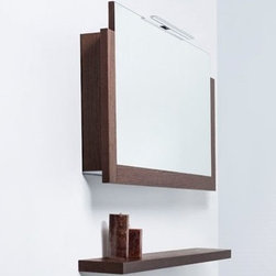 """Blu Bathworks 43"""" Mirror Medicine Cabinet Tobacco - The ultimate in modern bathroom design & functionality - this sleek mirror is sure to surprise with its innovative uplift door, LED lighting & electrical outlet Modern wall-mounted mirror medicine cabinet, wtih uplift door powered by Hafele mechanical system with slow close, soft return operation 3-sided wooden frames, available in a range of textured European oak stained wood veneers or a white matte or gloss lacquer finish Upper LED light & illuminated bottom shelf with an integral light switch & 110V electrical outlet"""