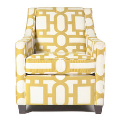 "Bella Lounge Chair - Add a pop of color with this cheerfully upholstered chair in a fun yellow geometric fabric! The Bella lounge chair is a welcoming addition to any interior for a quick modern makeover. Dimensions: L: 28"" x W: 34"" x H: 33"""