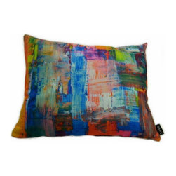 Abstract 21X16 Pillow (Indoor/Outdoor) - 100% polyester cover and fill.  Backed with solid Sunbrella outdoor fabric.  Zippered Closure with 100% polyester filled insert.  Made in USA.  Spot clean only.  Safe for use indoors or out.