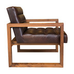 Box Channel Chair - Tobacco Leather Solid Walnut Frame With Channel Seat/Back