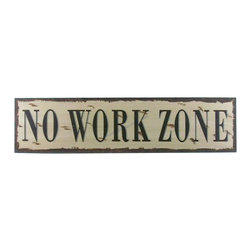 """Handcrafted Nautical Decor - Wooden No Work Zone Beach Life Sign 24"""" Beach Cottage Interior Design - New - Immerse yourself in the warm ambiance of the beach, imagining golden sands between your toes as you listen to the gentle sound of the surf, while you enjoy Handcrafted Nautical Decor's fabulous Beach Signs. Perfect for welcoming friends and family, or to advertise a festive party at your beach house, bar, or restaurant, this Wooden No Work Zone Beach Life Sign 24"""" sign will brighten your life. Place this beach sign up wherever you may choose, and enjoy its wonderful style and the delightful beach atmosphere it brings."""