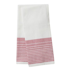 "Coyuchi - Diamond Stripe Kitchen Towel Set 16""x24"" Deep Fuchsia - The perfect kitchen towel should be generously sized, truly absorbent and attractive enough that you won't mind hanging it in plain sight to dry. Woven from soft, thirsty organic cotton, with a diamond weave and bright yarn-dyed stripes, ours are all that, and earth-friendly, too. Choose a matched set of two, or opt for a set of seven, including one in each color."