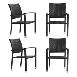 Four Bella Outdoor Stackable Dining Chairs in Espresso