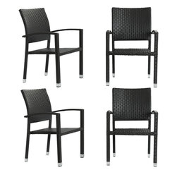 LexMod - Four Bella Outdoor Stackable Dining Chairs in Espresso - Relax in confidence, as you effortlessly unite diverse forces to take center stage. Wealth and success surround you and draw attention to greater heights. This outdoor wicker dining chair has a sturdy aluminum frame covered with an espresso rattan weave.