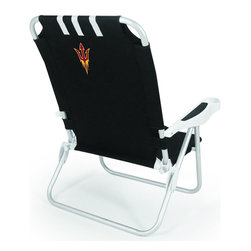 """Picnic Time - Arizona State Monaco Beach Chair Black - The Monaco Beach Chair is the lightweight, portable chair that provides comfortable seating on the go. It features a 34"""" reclining seat back with a 19.5"""" seat, and sits 11"""" off the ground. Made of durable polyester on an aluminum frame, the Monaco Beach Chair features six chair back positions and an integrated cup holder in the armrest. Convenient backpack straps free your hands so you can carry other items to your destination. Rest and relaxation come easy in the Monaco Beach Chair!; College Name: Arizona State; Mascot: SunDevils; Decoration: Digital Print"""